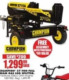 Blains Farm Fleet Black Friday: Champion 37-Ton Full Beam Gas Log Splitter + Free Assembly for $1,299.99
