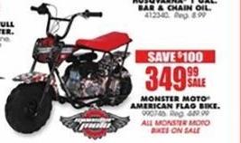 Blains Farm Fleet Black Friday: Monster Moto American Flag Bike for $349.99