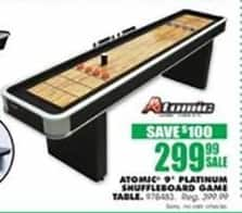 Blains Farm Fleet Black Friday: Atomic 9' Platinum Shuffleboard Game Table for $299.99