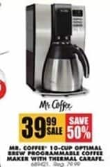 Blains Farm Fleet Black Friday: Mr. Coffee 10-cup Optimal Brew Programmable Coffee Maker w/ Thermal Carafe for $39.99