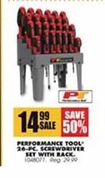 Blains Farm Fleet Black Friday: Performance Tool 26-pc. Screwdriver Set w/ Rack for $14.99