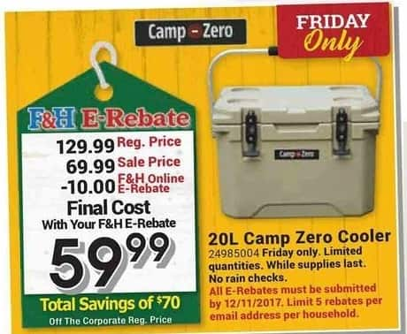 Farm and Home Supply Black Friday: Camp Zero 20L Cooler for $59.99 after $10.00 rebate