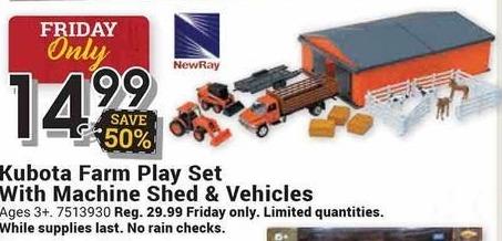 Farm and Home Supply Black Friday: Kubota Farm Play Set w/ Machine Shed & Vehicles for $14.99