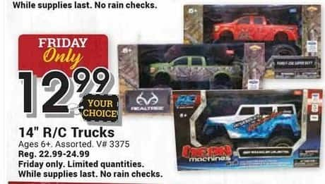 """Farm and Home Supply Black Friday: 14"""" RC Trucks for $12.99"""