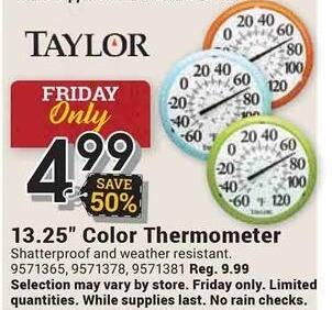 "Farm and Home Supply Black Friday: Taylor 13.25"" Color Thermometer for $4.99"