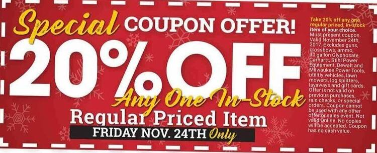 Farm and Home Supply Black Friday: Any One Regular Priced Item - 20% Off
