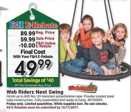 Farm and Home Supply Black Friday: Web Riderz Nest Swing for $49.99 after $10.00 rebate