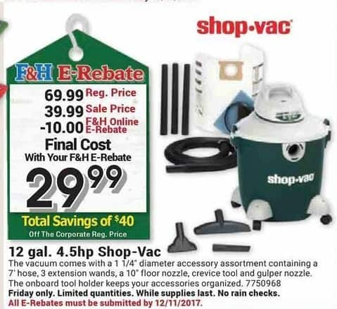 Farm and Home Supply Black Friday: Shop-Vac 12-gal. 4.5-hp. Vacuum for $29.99 after $10.00 rebate