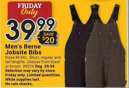 Farm and Home Supply Black Friday: Berne Jobsite Bibs for $39.99