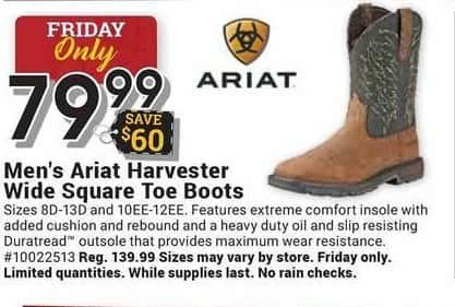 Farm and Home Supply Black Friday: Ariat Harvester Wide Square Toe Boots for Men for $79.99
