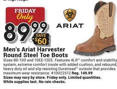 Farm and Home Supply Black Friday: Ariat Harvester Round Steel Toe Boots for Men for $89.99