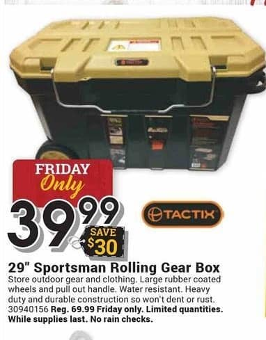 "Farm and Home Supply Black Friday: Tactix 29"" Sportsman Rolling Gear Box for $39.99"