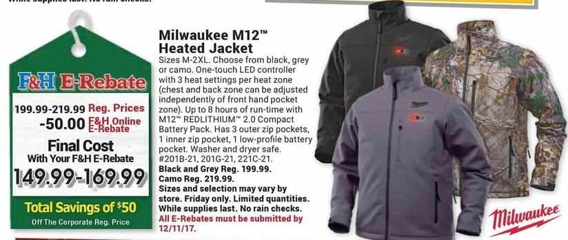 Farm and Home Supply Black Friday: Milwaukee M12 Heated Jacket for $149.99 - $169.99 after $50.00 rebate