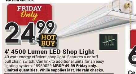 Farm and Home Supply Black Friday: APL 4-ft. 4500 Lumen LED Shop Light for $24.99