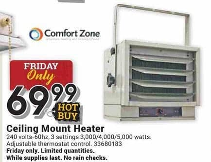 Farm and Home Supply Black Friday: Comfort Zone Ceiling Mount Heater for $69.99
