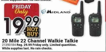 Farm and Home Supply Black Friday: Midland 20 Mile 22-Channel Walkie Talkie for $19.99