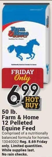 Farm and Home Supply Black Friday: Farm & Home 12 Pelleted Equine Feed 50-lbs for $6.99