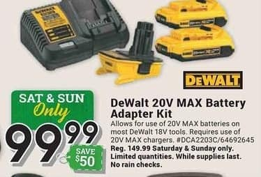 Farm and Home Supply Black Friday: DeWalt 20V Max Battery Adapter Kit for $99.99