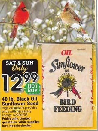 Farm and Home Supply Black Friday: Black Oil 40-lb Sunflower Seed for $12.99
