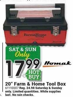 "Farm and Home Supply Black Friday: Homak 20"" Farm & Home Tool Box for $17.99"