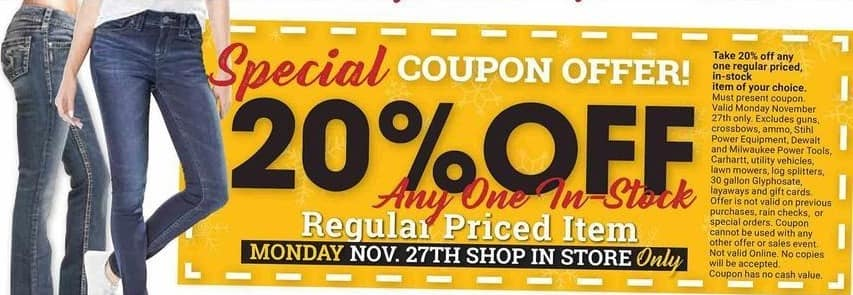 Farm and Home Supply Black Friday: Any One Regular Priced Item - 11/27 - 20% Off