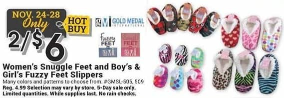 Farm and Home Supply Black Friday: (2) Snuggle Feet for Women and Boy's & Girl's Fuzzy Feet Slippers for $6.00