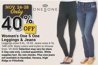 Farm and Home Supply Black Friday: One 5 One Leggings & Jeans - 40% Off