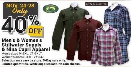Farm and Home Supply Black Friday: Stillwater Supply & Nina Capri Apparel for Men & Women - 40% Off