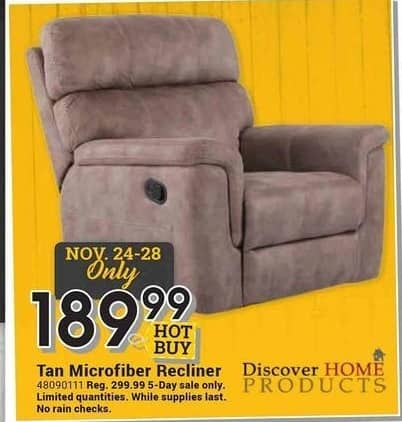Farm and Home Supply Black Friday: Discover Home Products Tan Microfiber Recliner for $189.99