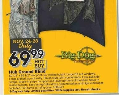 Farm and Home Supply Black Friday: Big Dog Hub Ground Blind for $69.99