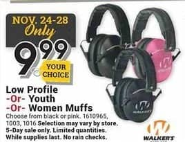 Farm and Home Supply Black Friday: Walkers Low Profile Youth or Women Muffs for $9.99