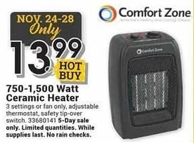 Farm and Home Supply Black Friday: Comfort Zone 750W-1500W Ceramic Heater for $13.99