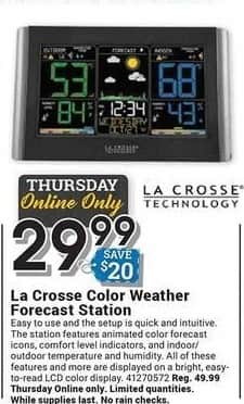 Farm and Home Supply Black Friday: La Crosse Color Weather Forecast Station for $29.99