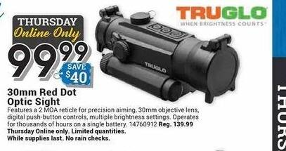 Farm and Home Supply Black Friday: Truglo 30mm Red Dot Optic Sight for $99.99