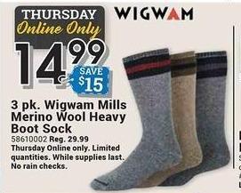 Farm and Home Supply Black Friday: Wigwam 3-pk Mills Merino Wool Heavy Boot Sock for $14.99