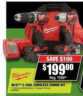 Northern Tool and Equipment Black Friday: Milwaukee M18 Cordless Combo Kit for $199.00