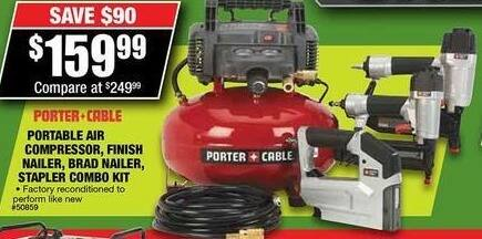 Northern Tool and Equipment Black Friday: Porter-Cable 3-Pc Reconditioned Finish Nailer & Brad Nailer Combo Kit for $159.99
