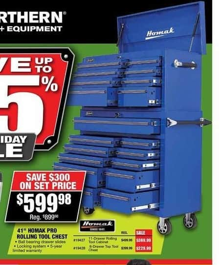 "Northern Tool and Equipment Black Friday: 41"" Homak Pro Rolling Tool Chest for $599.98"