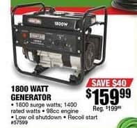 Northern Tool and Equipment Black Friday: 1800W Generator for $159.99