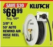 Northern Tool and Equipment Black Friday: Klutch Heavy-Duty Auto Rewind Air Hose Reel With 3/8in. x 50ft. Rubber Hose, Max. 300 PSI for $69.99