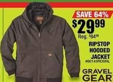 Northern Tool and Equipment Black Friday: Gravel Gear Ripstop Large Hooded Dark Stone Jacket for $29.99