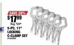 "Northern Tool and Equipment Black Friday: 5-pc 11"" Locking C-Clamp Set for $17.99"