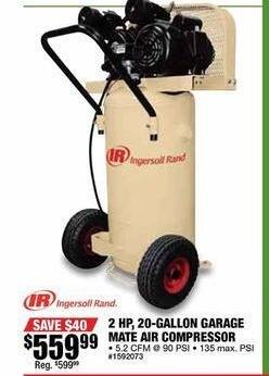 Northern Tool and Equipment Black Friday: Ingersoll Rand Garage Mate Portable Electric Air Compressor 2 HP 20 Gal for $559.99
