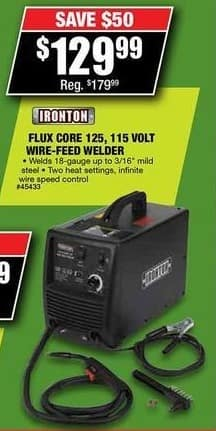 Northern Tool and Equipment Black Friday: Ironton 125 Flux-Core Welder 115 Volts for $129.99