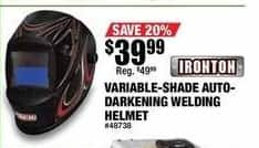 Northern Tool and Equipment Black Friday: Ironton 500 Series Auto-Darkening Welding Helmet for $39.99