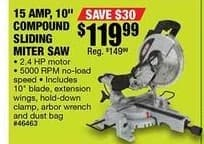 Northern Tool and Equipment Black Friday: Ironton 10in. Compound Sliding Miter Saw 2.4 HP, 15 Amps, 4600 RPM for $119.99