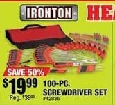Northern Tool and Equipment Black Friday: Ironton 100-pc Screwdriver Set for $19.99