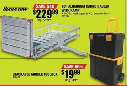 "Northern Tool and Equipment Black Friday: 60"" Ultra-Tow Aluminum Folding Cargo Carrier w/ Ramp for $229.99"