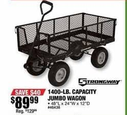 Northern Tool and Equipment Black Friday: 1400-lb Capacity Strongway Steel Jumbo Garden Wagon for $89.99