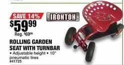 Northern Tool and Equipment Black Friday: Ironton Rolling Garden Seat w/ Turnbar for $59.99